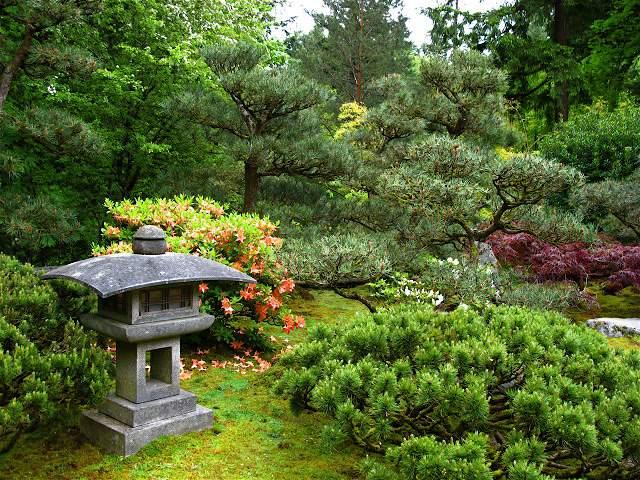 Каменный фонарь в японском саду