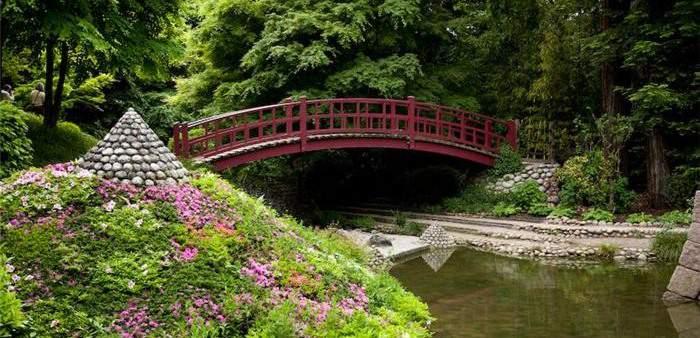 Обычный мост в японском саду